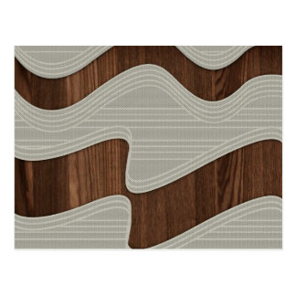 White Wave fabric vintage wood lines Image Printt Post Card
