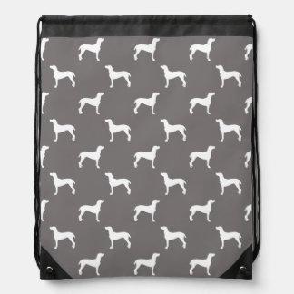 White Weimaraner Silhouettes On Grey Drawstring Bag