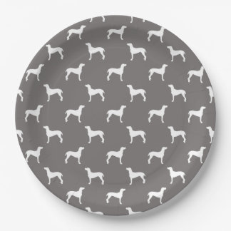 White Weimaraner Silhouettes On Grey Paper Plate