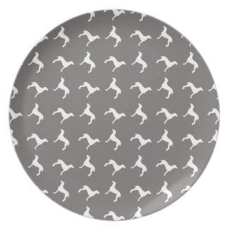 White Weimaraner Silhouettes On Grey Plate