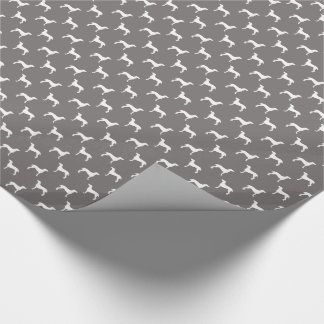 White Weimaraner Silhouettes On Grey Wrapping Paper