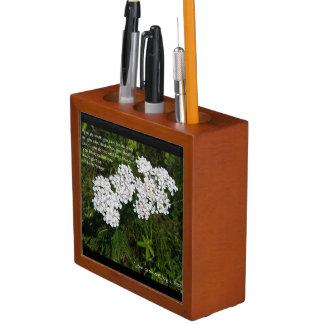 White Wildflower Inspirational Desk Organizer