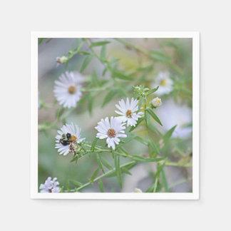 White wildflowers disposable napkin
