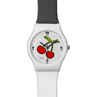 White with cherry personalized watch