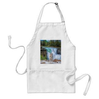 White Wolf & Rocky Mountain Waterfall Wildlife Art Standard Apron