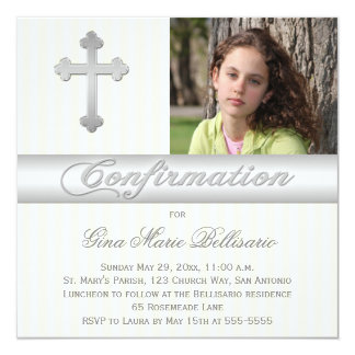 White Yellow Stripes Confirmation Photo Invitation