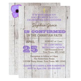 Whitewash Lilac Rustic Confirmation Card
