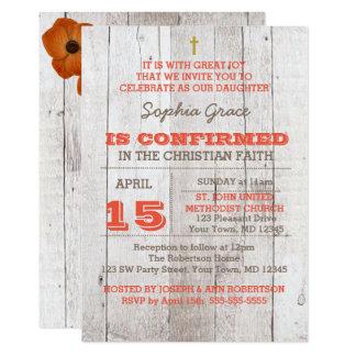 Whitewash Orange Rustic Confirmation Card