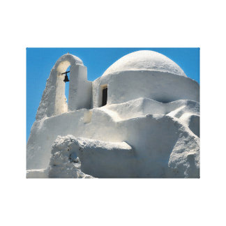 Whitewashed Church, Mykonos, Greece Stretched Canvas Prints