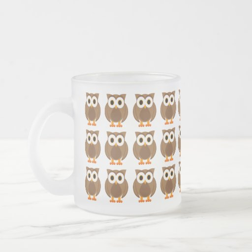 Who? Mr. Brown Owl Cartoon Frosted Mug
