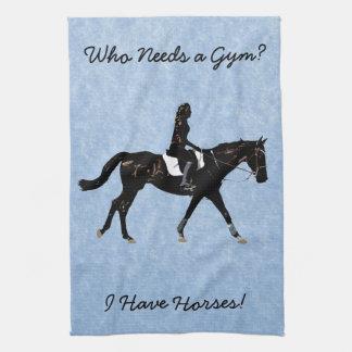 Who Needs a Gym? Fun Horse Tea Towel