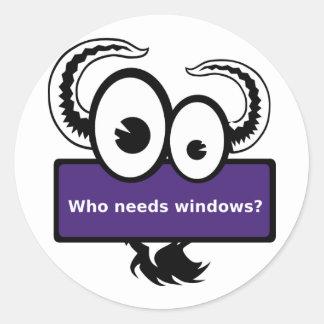 Who needs windows - purple round sticker