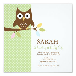 {whooo is having a baby?} personalized invites