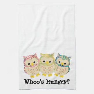 Whoo's Hungry?  Kitchen Towl Tea Towel