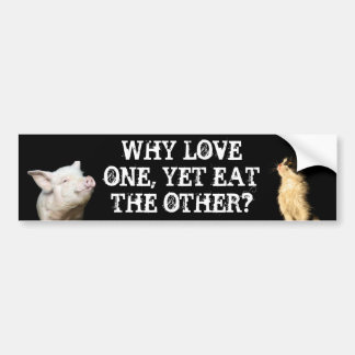 Why love one, yet eat the other? Cat/Pig Bumper Sticker