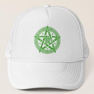 Wiccan Celtic Knot Pentagram with Floral Pattern Trucker Hat