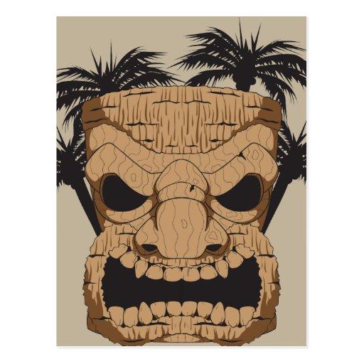 Wicked Tiki Carving Postcard