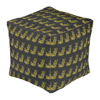 Wicked Yellow Pattern Cube Bean Bags Pouf