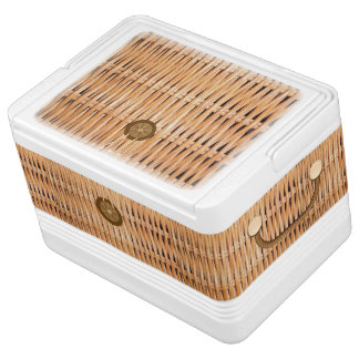 Wicker Picnic Basket Look Igloo Can Cooler Chilly Bin