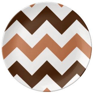 Wide Retro Zigzag Pattern Cream Rust & Brown Porcelain Plates