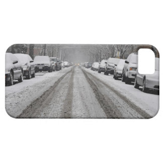 Wide view of unplowed snow covered street in barely there iPhone 5 case
