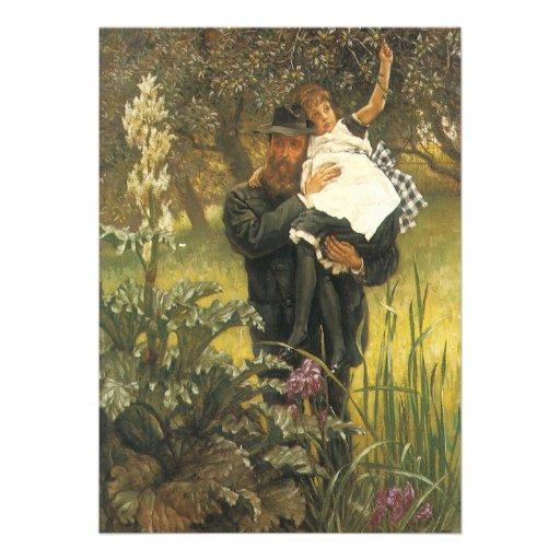 Widower by Tissot, Vintage Victorian Portrait Art Custom Invite