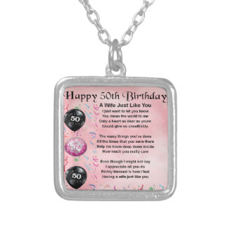 Wife Poem - 50th Birthday Silver Plated Necklace