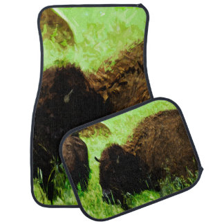 Wild American Bison Abstract Impressionism Car Mat
