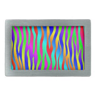 Wild and crazy rainbow zebra stripes belt buckle