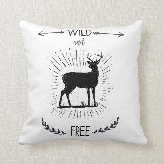 Wild and free, nursery pillow, deer, nursery deer cushion