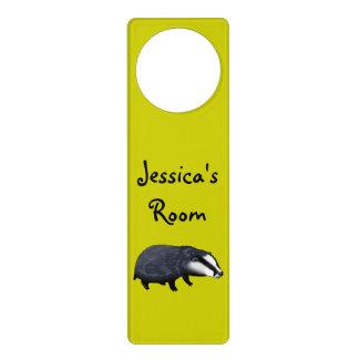 wild animal baby badger - just add name door hanger
