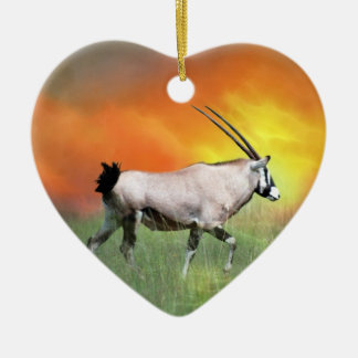 Wild deer at sunset christmas tree ceramic heart decoration