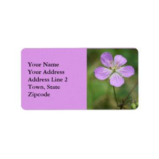 Wild Geranium Pink Wildflower Address Labels