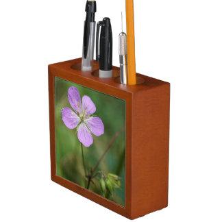Wild Geranium Pink Wildflower Desk Organizer