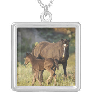 Wild Horses at Theodore Roosevelt National Park Silver Plated Necklace