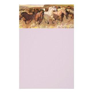 Wild Horses Horse Letterhead Stationery Lavender