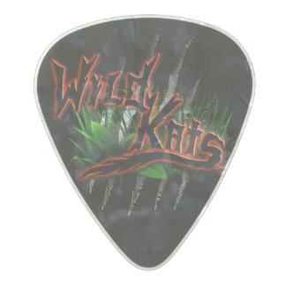WILD KATS Band 2-side Black and White Pearl Pick Pearl Celluloid Guitar Pick
