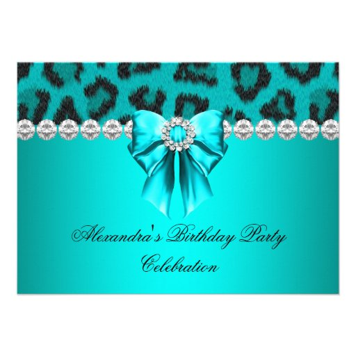 Wild Leopard Teal Bow Diamonds Birthday party Announcements
