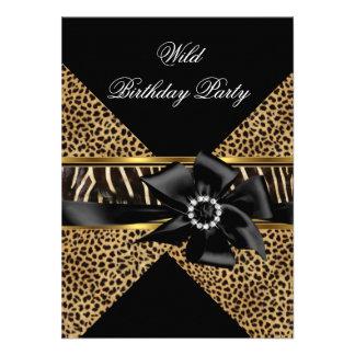 Wild Leopard Zebra Black Bow Gold Birthday Party Custom Invitations
