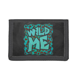 Wild me Dalmatian Brown and Teal Design Trifold Wallet