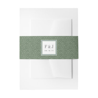 Wild Meadow | Vines Pattern Monogram Invitation Belly Band
