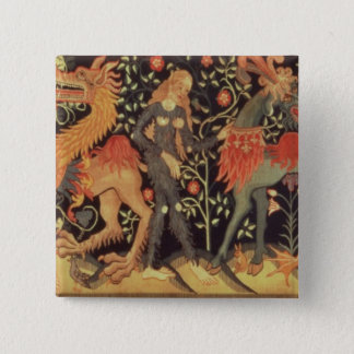 Wild Men and Animals, tapestry, 15th century 15 Cm Square Badge