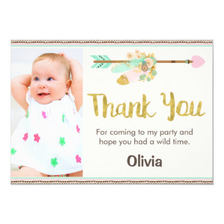 Wild One Arrow Tribal 1st Birthday Thank You Card