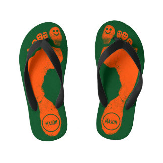 Wild Orange Footprints Smiley-Toes™ on Grass Green Kid's Jandals