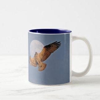 Wild Osprey & Super Moon Photo Design Two-Tone Coffee Mug