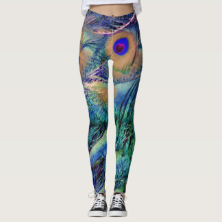 Wild Peafowl Feathers Leggings