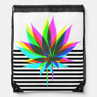 Wild Plant Leafs - neon colored + your ideas Drawstring Bag