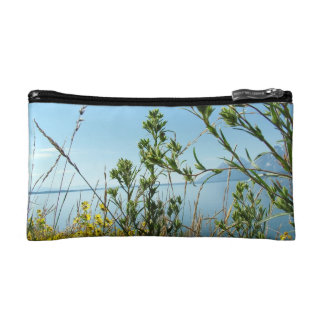 Wild plants, flowers and lake cosmetic bag