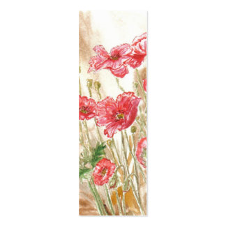 'Wild Poppies' Small Bookmark Business Card Templates