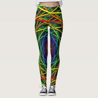 Wild Rainbow Neon Leggings Geometric Design